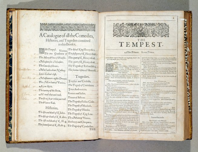 Colour photograph of a book, a Shakespeare folio, open to the first page of The Tempest.