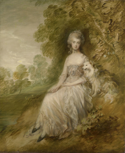 18th century painted portrait of a woman. The woman wears a light brown and white dress and is seated next to a small dog on a small cut out piece of ground. She is surrounded by trees and lawn.